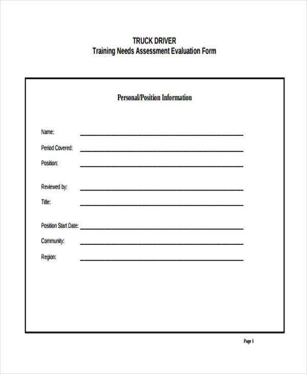 driver training evaluation form sample