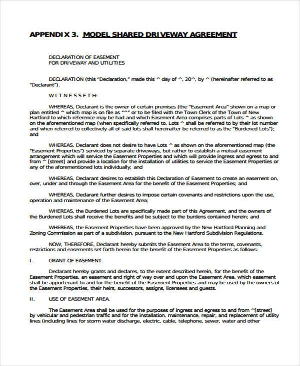 Driveway Easement Agreement Form Samples  Free Sample Example