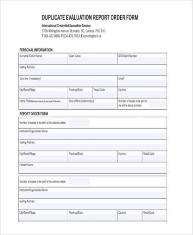 Sample Evaluation Report Forms   Free Documents In Word Pdf