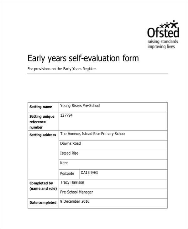 8 SelfEvaluation Sample Forms Free sample Example Format Download – Teacher Self Evaluation Form