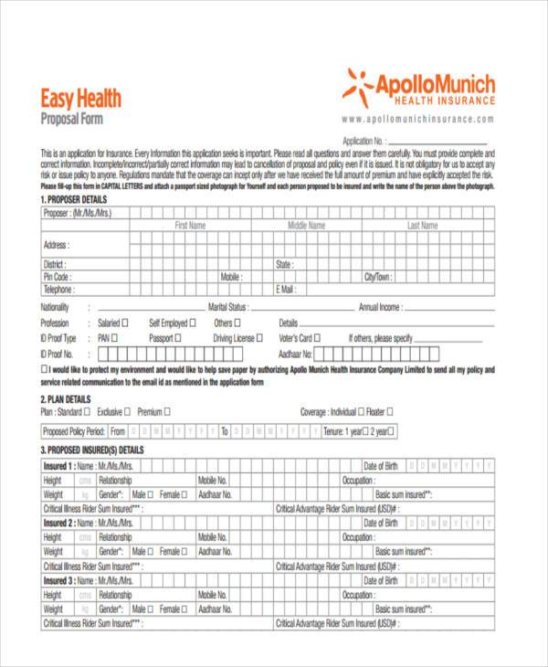 easy health insurance proposal form1