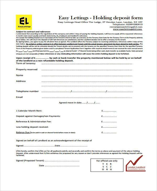 easy holding deposit agreement form example