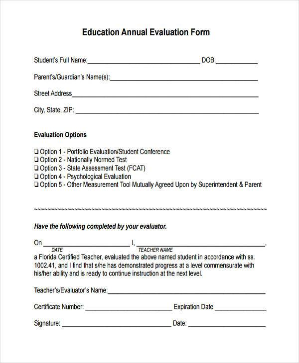 education annual evaluation form sample