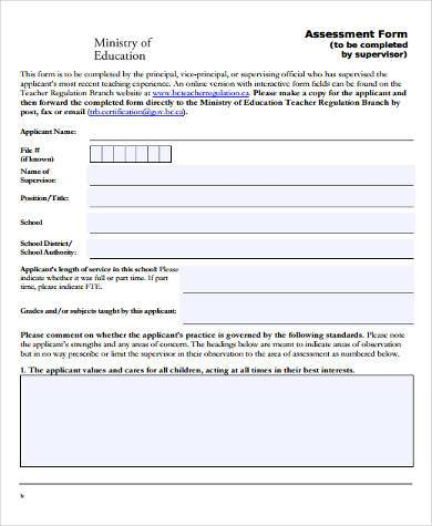 Sample Education Assessment Forms - 8+ Free Documents In Word, Pdf