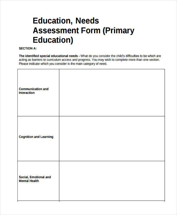 Education Assessment Form Samples  Free Sample Example Format