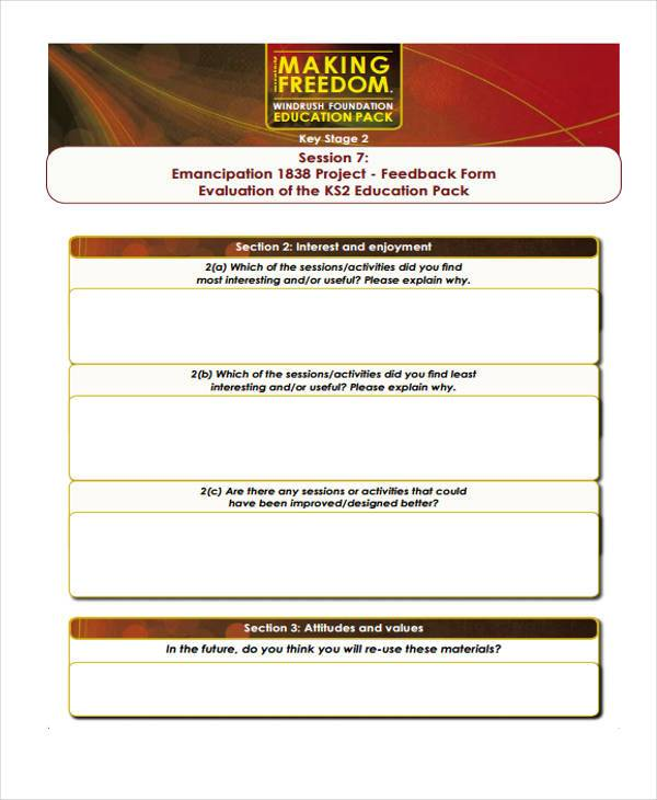 education session feedback form
