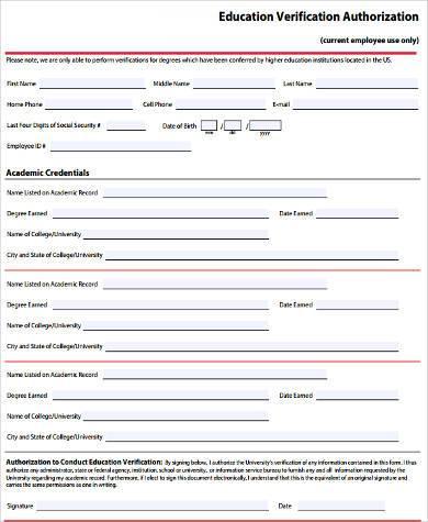 education verification authorization form