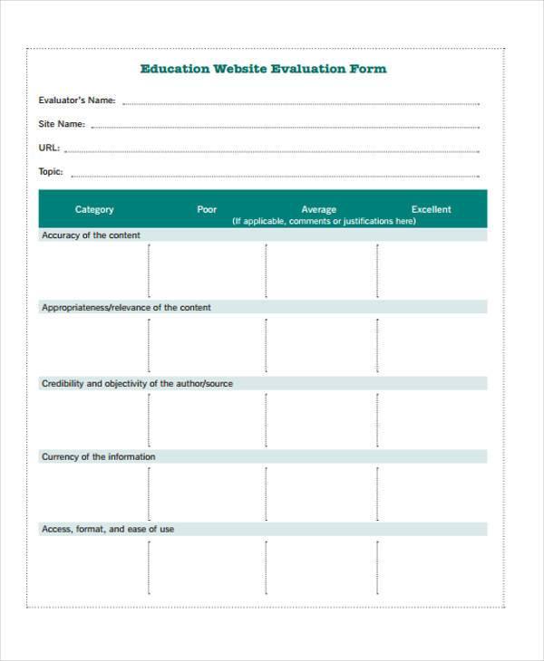 education website evaluation form