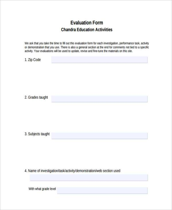 educational activity evaluation form