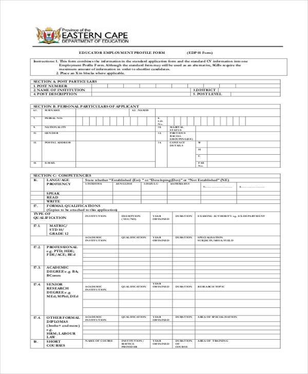 educator employment profile form in pdf