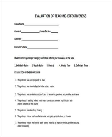 effective faculty evaluation form