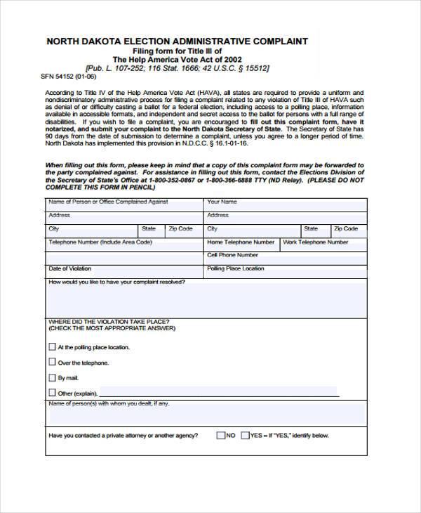 election administrative complaint form