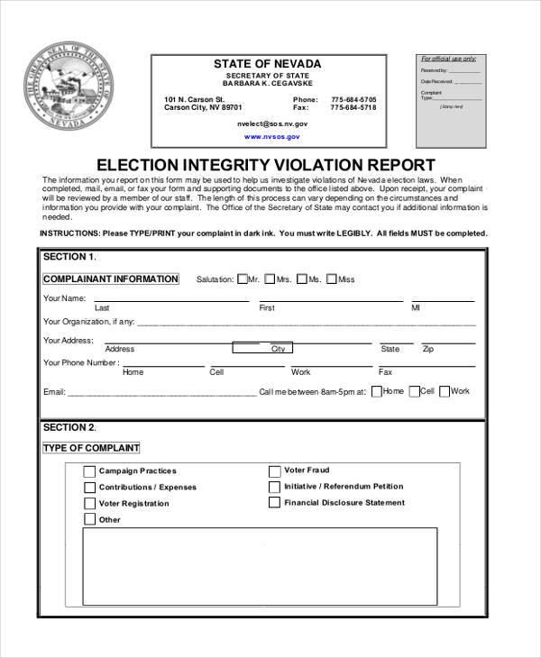 elections integrity complaint form