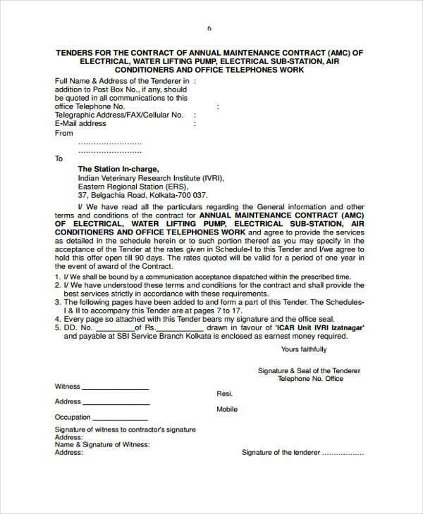 Sample Maintenance Contract Forms Free Documents In Word PDF - Electrical contractor contract template