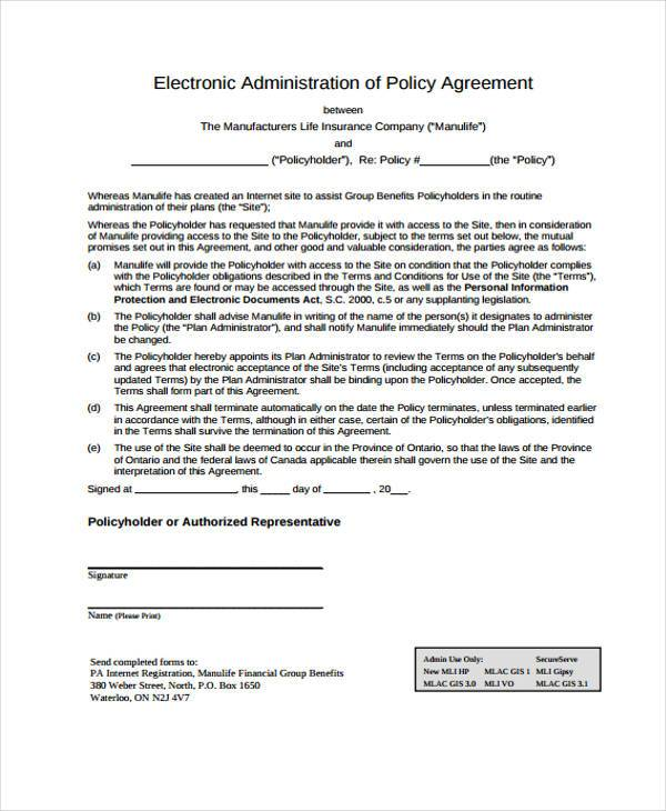 electronic administration of policy agreement