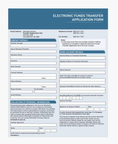 electronic funds transfer application form