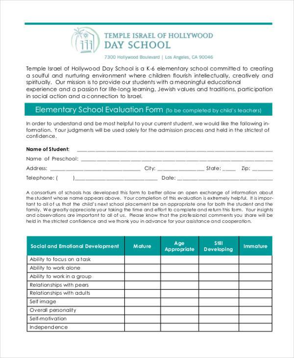 elementary school evaluation form