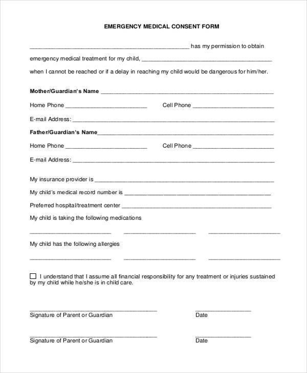 7 medical consent sample forms free example sample format download