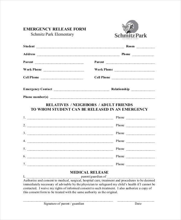 Sample Emergency Release Forms - 8+ Free Documents In Pdf