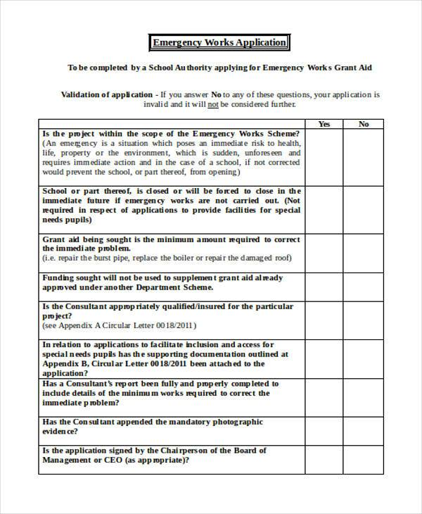 emergency work application form