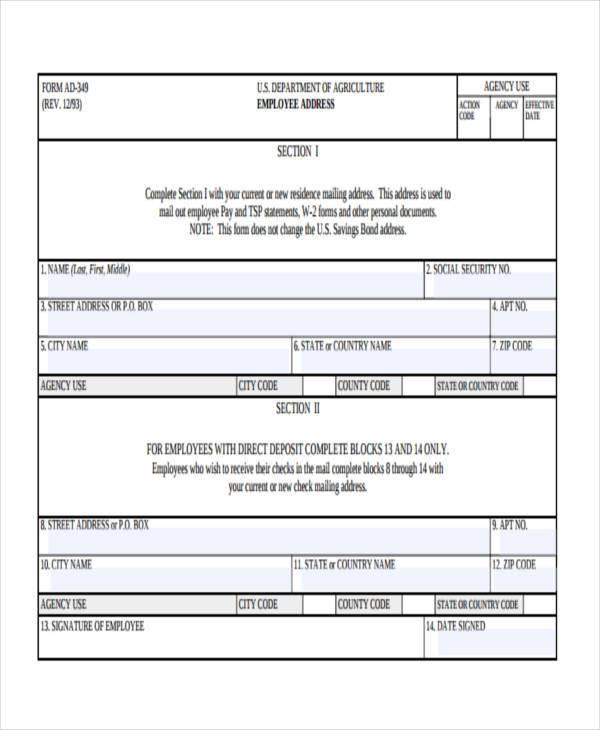 employee address form example