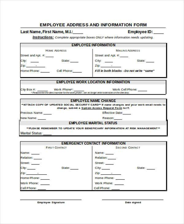 Sample Employee Address Forms - 7+ Free Documents in Word, PDF