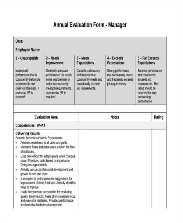 Sample Annual Evaluation Forms   Free Documents In Word Pdf