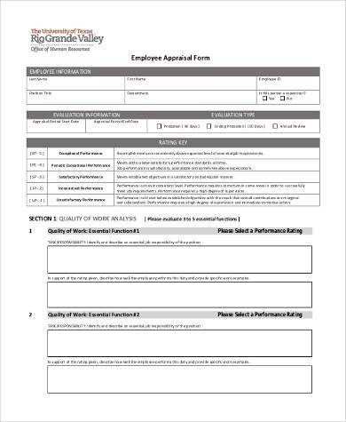 Employee Appraisal Forms  BesikEightyCo