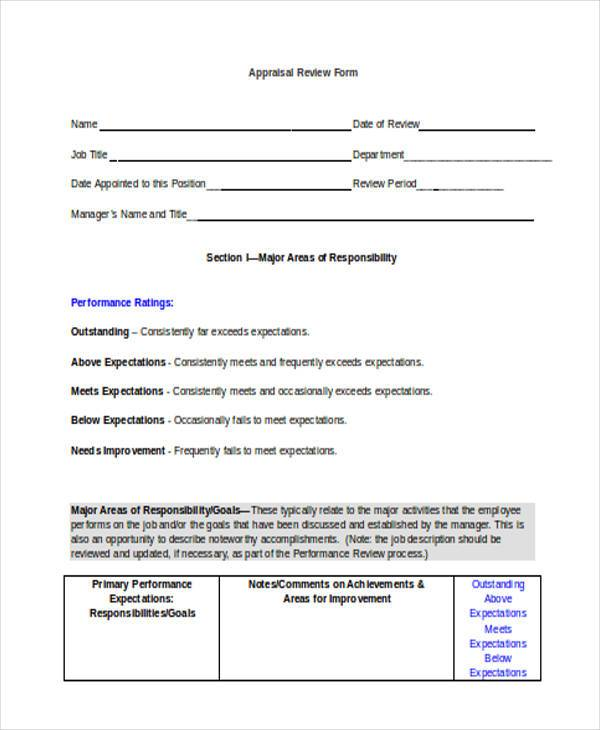 review form staff performance appraisal form employee appraisal review