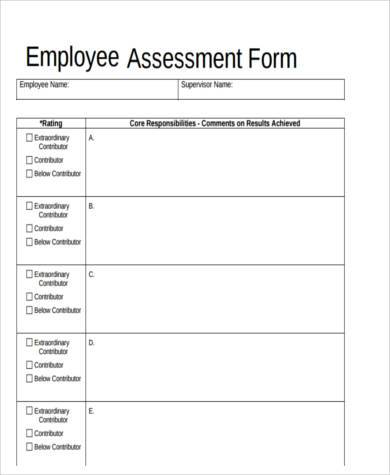 Sample Employee Assessment Forms - 9+ Free Documents in Word, PDF