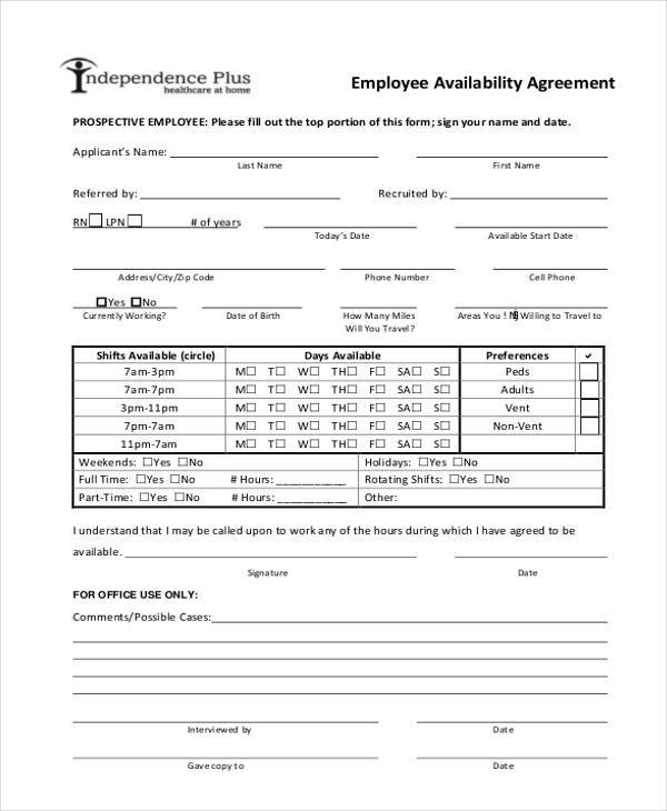 employee availability agreement form