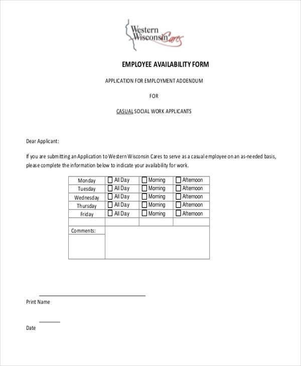 employee availability form example