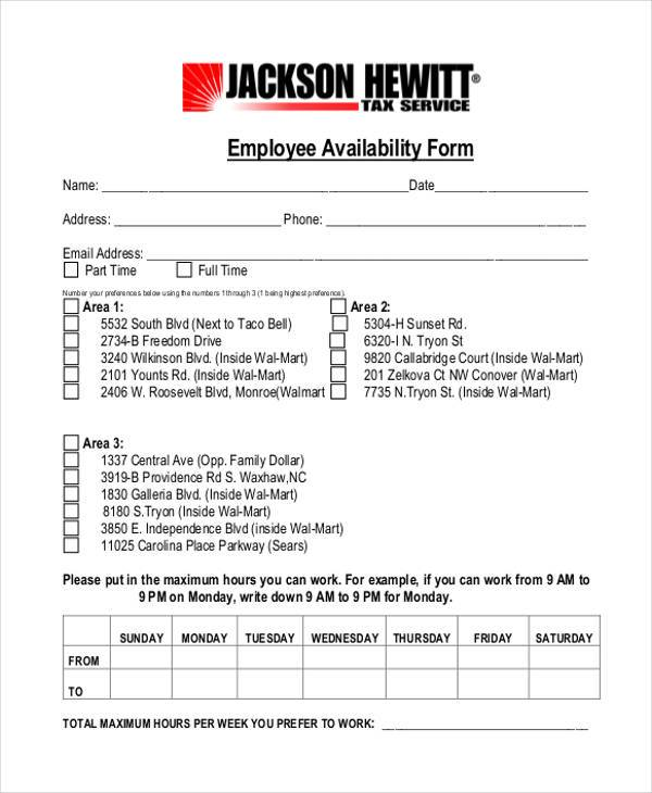 Employee Availability Form Template