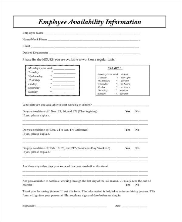 employee availability information form