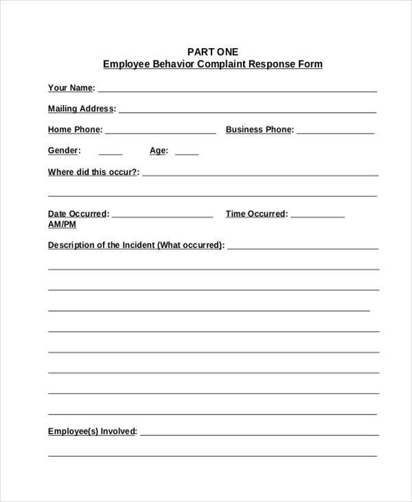 employee behavior complaint form1
