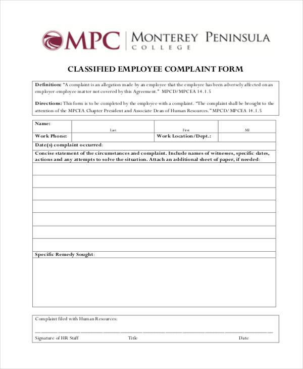 9 Employee Complaint Form Samples Free Sample Example Format – Employee Complaint Form