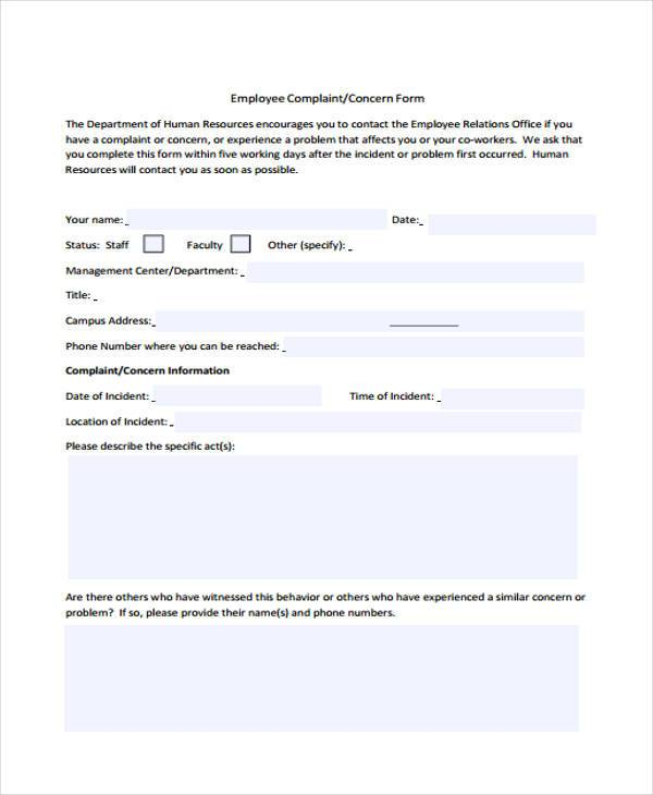 Staff Complaint Form Samples  Free Sample Example Format Download