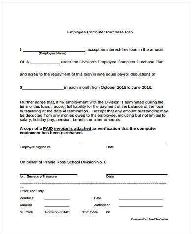 employee computer purchase plan form