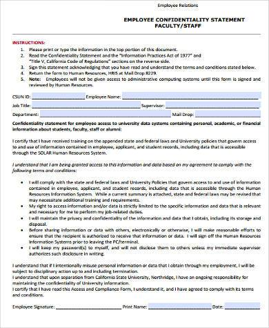 employee confidentiality statement form