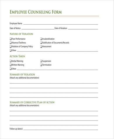employee counseling form free