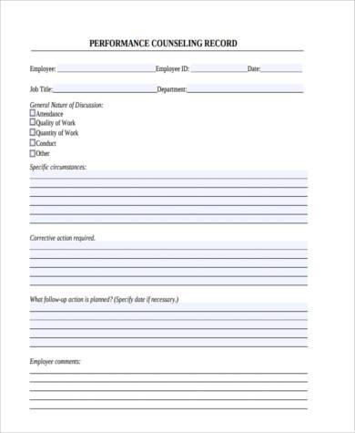 Employee Counseling Form Sample 9 Free Documents In
