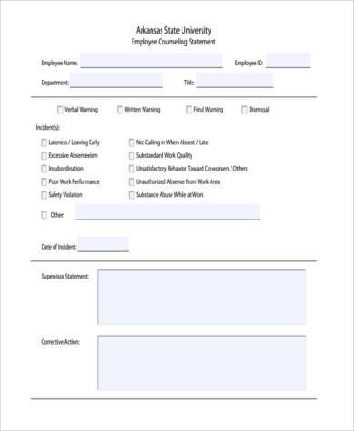 Sample Counseling Statement Forms   Free Documents In Word Pdf
