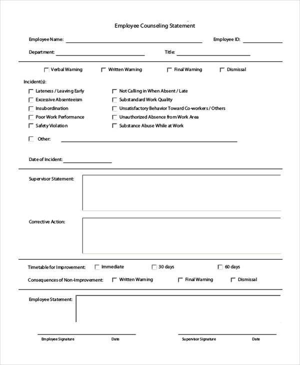 employee counseling statement form1