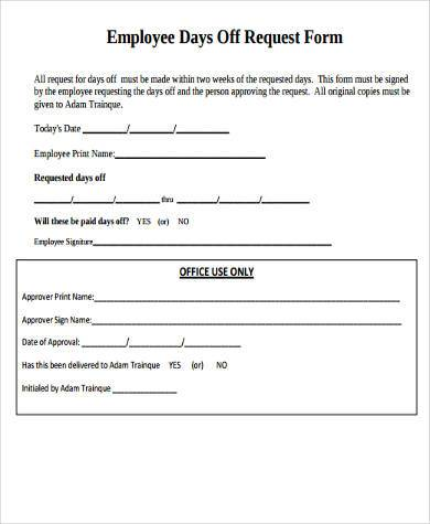 Request Off Forms Restaurant Employee Vacation Request Form Best