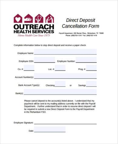 Sample direct deposit cancellation forms 7 free for Direct deposit forms for employees template