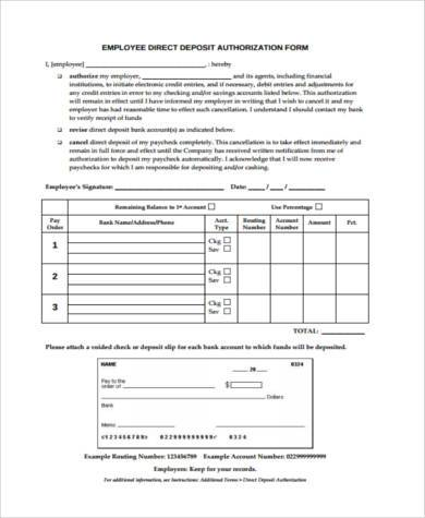 employee direct deposit form