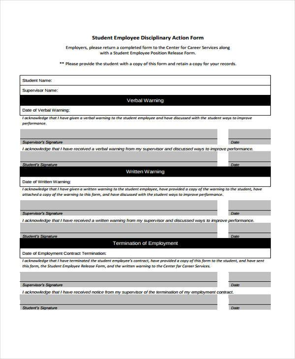 employee discipline action form example