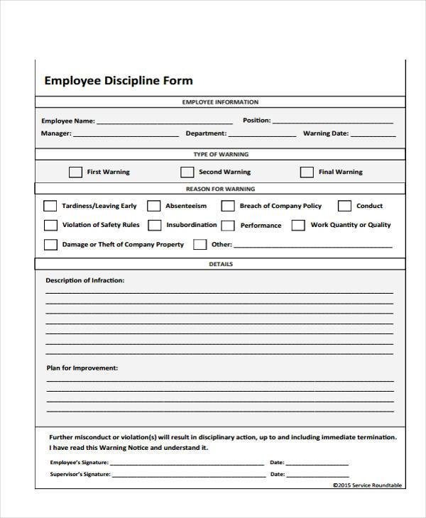 Employee Discipline Form Samples  Free Sample Example Format