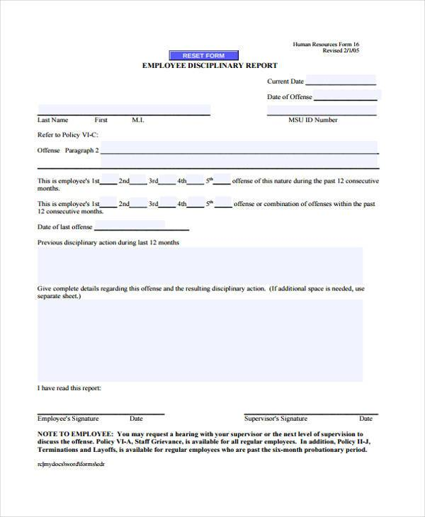employee discipline report form