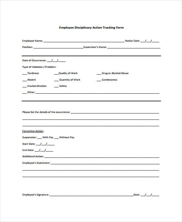 employee discipline tracking form example